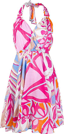 Emilio Pucci Vestido frente única com estampa geométrica - Rosa