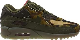 Nike Mens Air Max 90 Running Shoe, Cargo Khaki/Cargo Khaki/University Red, 3.5 UK