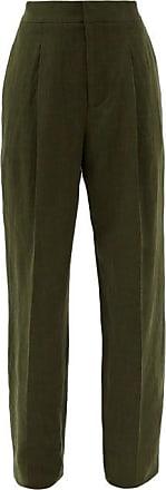 Haider Ackermann High-rise Linen Wide-leg Trousers - Womens - Khaki
