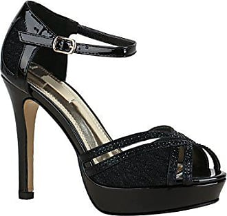 a23fbcd37a3a6e Stiefelparadies Damen Schuhe Sandaletten Plateau High Heels Metallic  Stilettos 155949 Schwarz Lack Spitze 41 Flandell