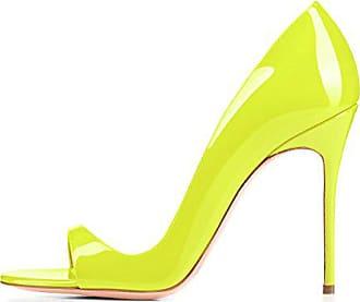 3737e544881e21 Onlymaker Damen Pumps Sommer Sandalen Peep Toe DOrsay High-Heels Glitzer  Stiletto Gelb EU43