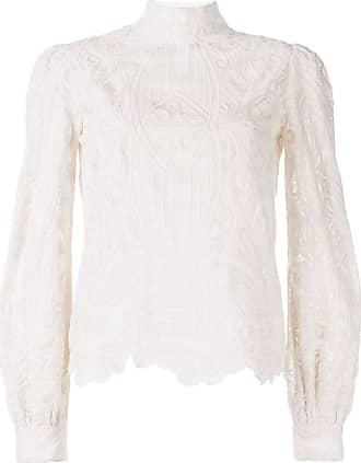 WANDERING Blusa com renda translúcida e bordado - Branco