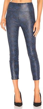 SPRWMN Leather High Waist Crop Legging in Blue