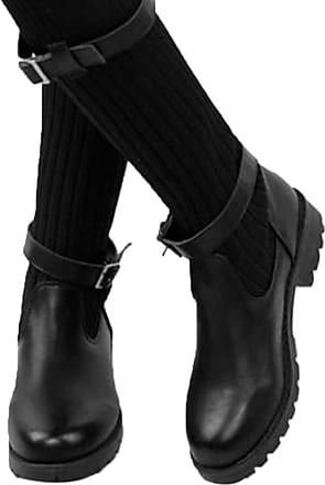 NOADream Women Low Heels Sock Boots Flat Stylish Sexy Stretch Boots Trekking Hiking Casual Slouch Booties Combat Biker Mid-Calf Boot Black