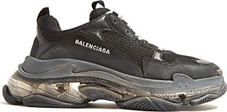 Balenciaga Triple S Leather And Mesh Trainers - Mens - Black