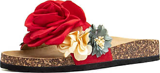 Truffle Flossy Womens Red Floral Slider - Size 4 UK - Red