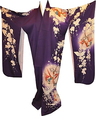 ac5073fb99 1stdibs Bold Violet With floral   Origami Cranes Silk Kimono