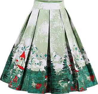 EUDOLAH Womens Vintage Floral Swing Full Circle Pleated Skirts GreenTree 2XL