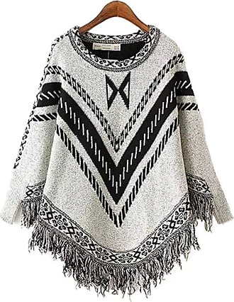 YOUJIA Women Vintage Patterned Knitted Pullover Poncho Capes with Tassels Sweater Top (Light Gray)