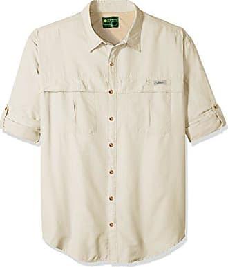 G.H. Bass & Co. Mens Big and Tall Explorer Survivor Long Sleeve Point Collar Fishing Shirt, Silver Birch, 2X-Large Tall