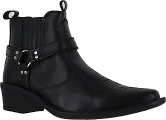 US Brass Eastwood Mens Cowboy Pull On Buckle Western Harness Cuban Heel Ankle Boots UK 11 / EU 45 Black