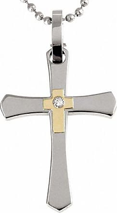 Zales Mens Diamond Accent Crucifix Pendant in Stainless Steel and 14K Gold - 24