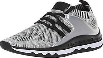 A|X Armani Exchange Womens Lace Up Athleisure Sneaker, Silver/Black, 35M Medium EU (5 US)