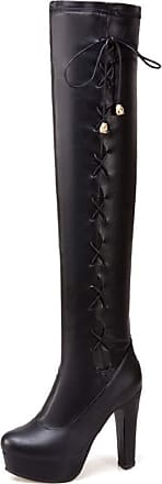 Yvelands Over Knee Boots Women Leather Sexy High Heel Long Boots Platform Vintage Lace Up Round Toe Party Evening Nightclube Combat Boots Black