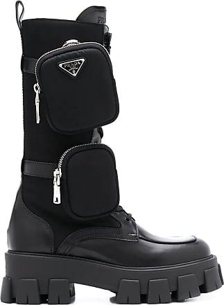 Prada Black leather Monolith boots