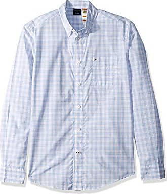 2e0aa7b48 Tommy Hilfiger Mens Adaptive Magnetic Long Sleeve Button Down Shirt Custom  Fit, Placid Blue,