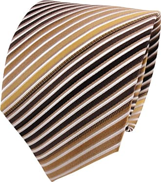 TigerTie silk tie gold brown dark-brown white striped - tie necktie silk
