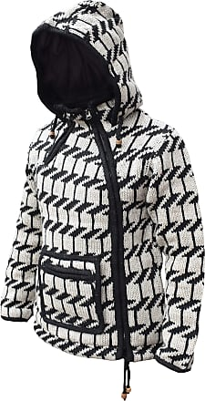 Gheri Woolen Black White Zebra Pattern Knitted Kangaroo Pouch Side Zip Jacket Small