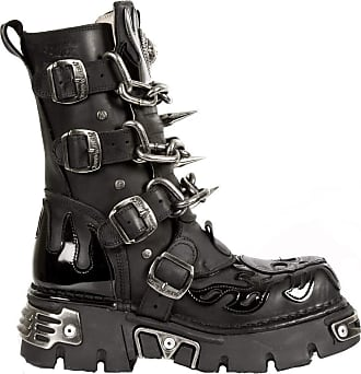 New Rock Unisex M.727-S1 Black Leather Boots Skull Chain Flame Reactor Boots 39
