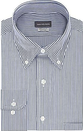 Van Heusen Mens Pinpoint Regular Fit Stripe Button Down Collar Dress Shirt, Ocean, 15 Neck 34-35 Sleeve