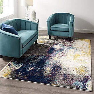 ModWay Adeline Contemporary Modern Abstract Area Rug, 5x8, Blue, Gray, Yellow, Ivory, Pink