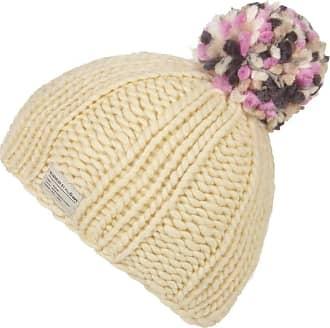 KuSan 100% Wool Bobble Beanie Hat PK1524 (Off-White/Pink)