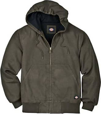 Dickies Mens Light Weight Sanded Duck Thermal Lined Hooded Jacket, Black Olive, Large/Regular
