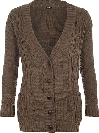 WearAll Womens Cable Knitted Button Cardigan Long Sleeve Ladies Boyfriend Top - Mocha - 12/14