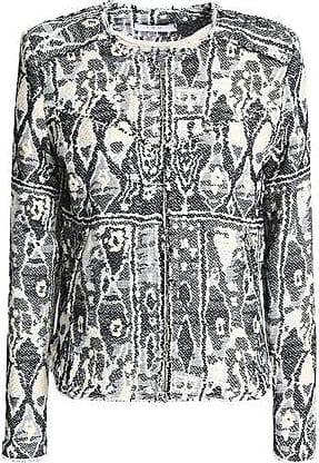 Iro Iro Woman Frayed Jacquard Jacket Black Size 36