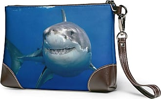 GLGFashion Womens Leather Wristlet Clutch Wallet White Shark Storage Purse With Strap Zipper Pouch