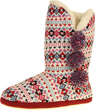 Footwear Studio Dunlop Womens Burgundy Blue Tall Slipper Boots UK 7-8