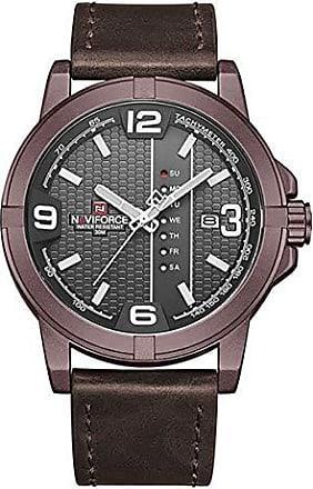NAVIFORCE Relógio Masculino Naviforce NF 9177 CEWCE Pulseira em couro - Marsala