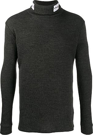 Raf Simons Suéter canelado com patch de logo - Cinza