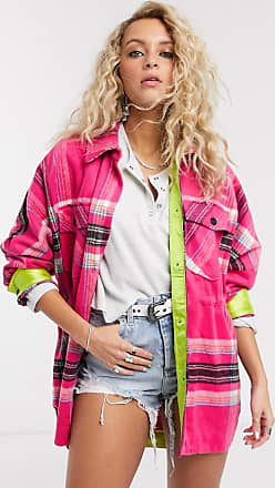 Free People down for you plaid jacket-Pink