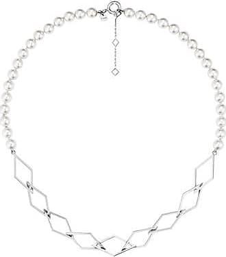 Misaki Collier ras de cou Marimba rhodié avec perles blanches
