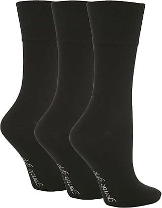 SockShop 3 Pairs White Black Ladies Gentle Grip Loose Soft Top Diabetic Non Elastic Socks Size 4-8 (Black)