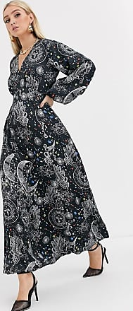 Asos maxi dress with puff sleeves in satin astrological print-Multi
