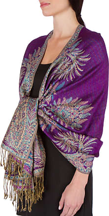 Sakkas 70inch x 28inch Big Paisley Jacquard Double Layer Woven Viscose Pashmina Shawl/Wrap / Stole - Purple(Size: One Size)