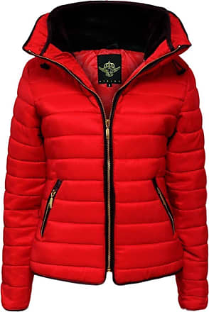 Parsa Fashions Malaika Girls Jacket Kids Stylish Padded Puffer Bubble Fur Collar Quilted Warm Thick Coat Jackets Age 7 8 9 10 11 12 13 Years (11/12 Year, Red)
