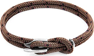 Anchor & Crew Brown Padstow Silver and Rope Bracelet - 21cm (most popular)