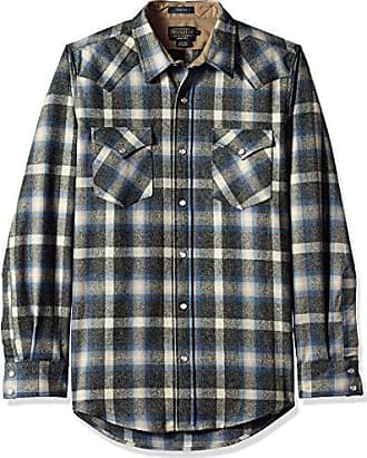 Pendleton Mens Long Sleeve Button Front Fitted Canyon Shirt, Oxford Mix/Blue/tan Plaid, SM
