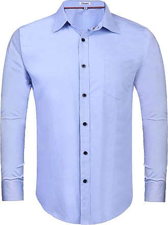 iClosam Mens Dress Shirts Long Sleeve Regular Fit Business Basic Shirts Solid Color Casual Button Down Formal Tailored Fit Shirt Blue