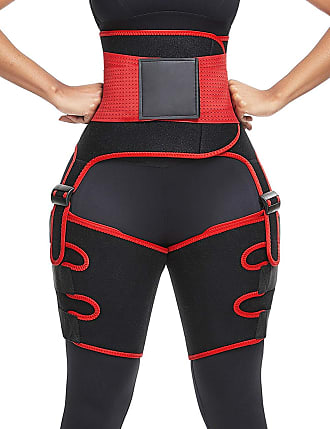 FeelinGirl Neoprene Compression Thigh Support - Thigh Trimmer Loss Weight Thigh Brace Quadriceps Hamstring for Women and Men (Red/15, XL)