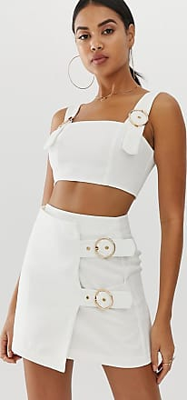 4th & Reckless mini skirt with buckle detail in white
