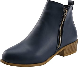 Yvelands Womens Boots Vintage Gladiator Chelsea Ankle Booties Low Square Heel Boots Short Boots Zip Winter Ladies Girls Work School Blue Black Gold Khaki White