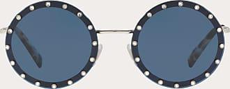 Valentino Valentino Occhiali Crystal Studded Round Frame Metal Sunglasses Women Dark Blue Metal, Plastic OneSize