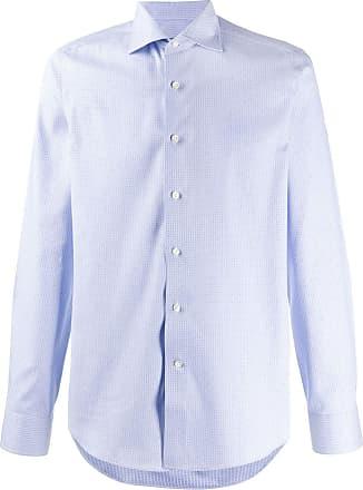 Canali Camisa com estampa geométrica - Azul