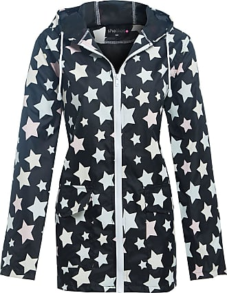 Shelikes New Womens Lightweight Hooded Zipped Black with Stars Raincoat Jacket Kagool Cagoule Mac S-L (18/20, Black)