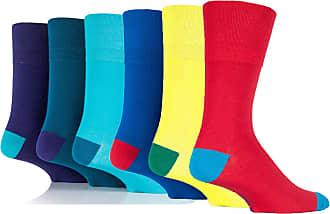 SockShop 6 Pairs Mens Colourburst Mix2 Gentle Grip Cotton Socks, UK Size 6-11