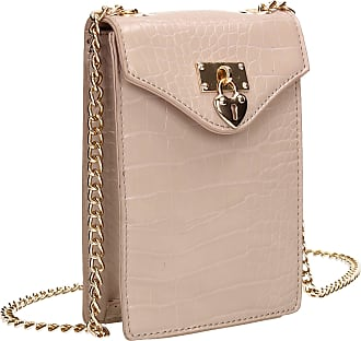 Swankyswans Willow Tall Patent Croc Effect Crossbody Bag Nude Pink